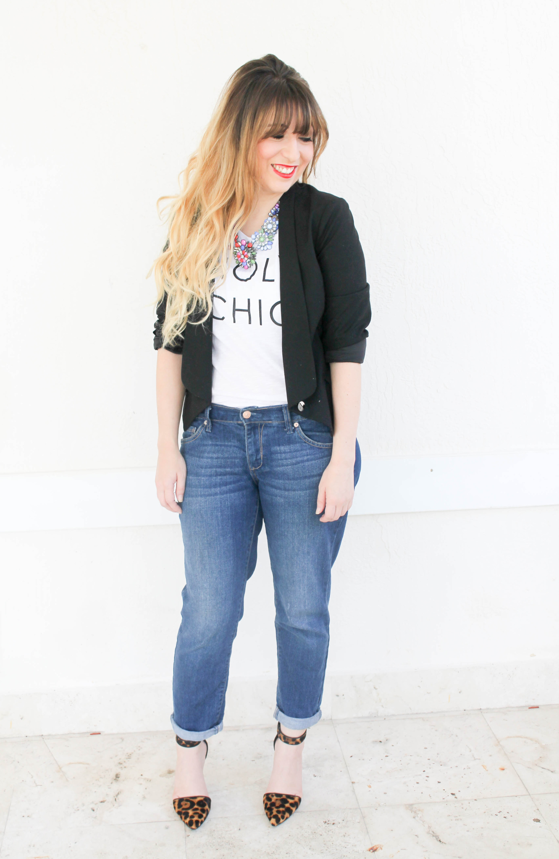 old navy holy chic tee, old navy boyfriend jeans, nine west cate heels, target statement necklace, how to style a graphic tee, graphic tee and jeans
