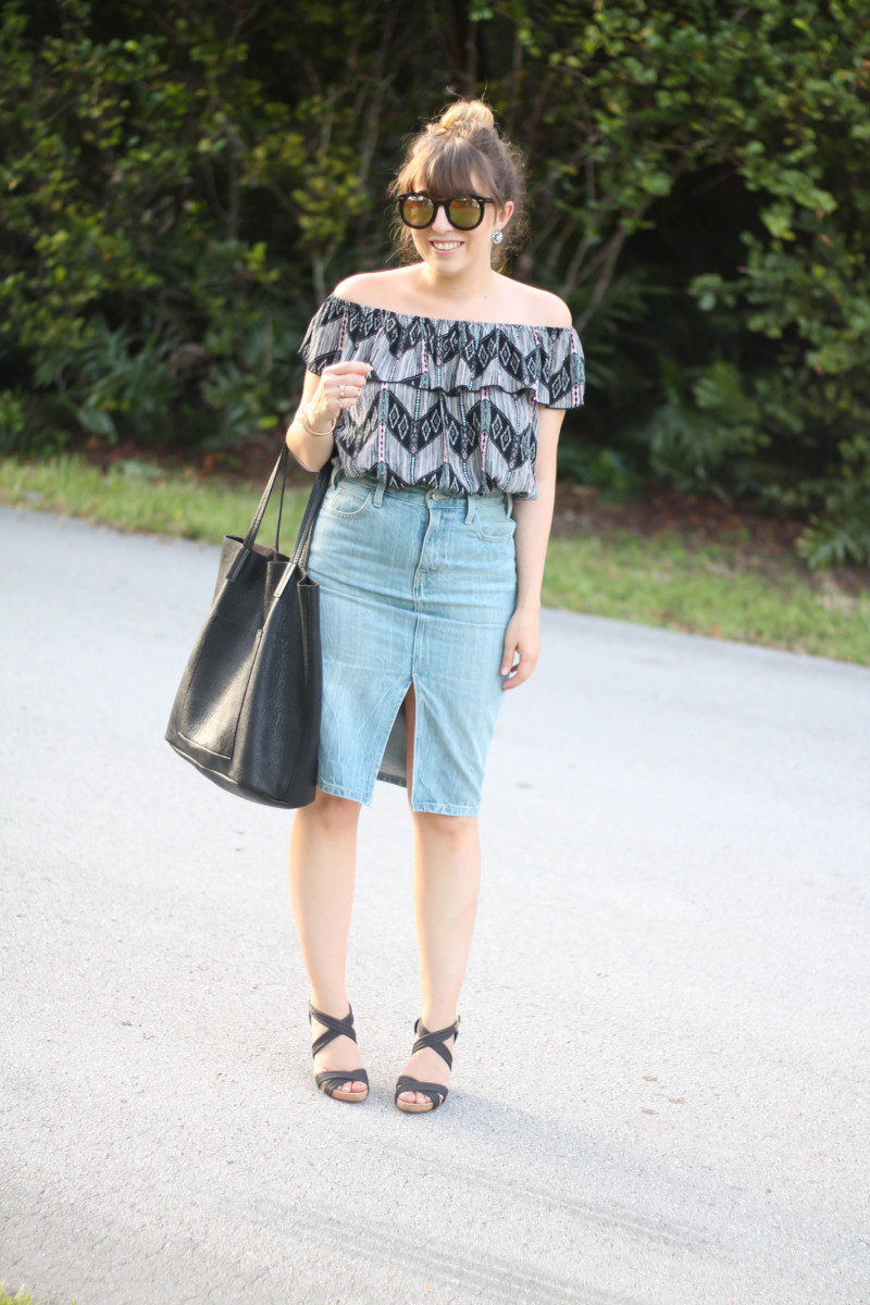 Levi's denim pencil skirt, Kohl's off the shoulder top, karen walker sunglasses from ditto, sole society wedges (3 of 11)