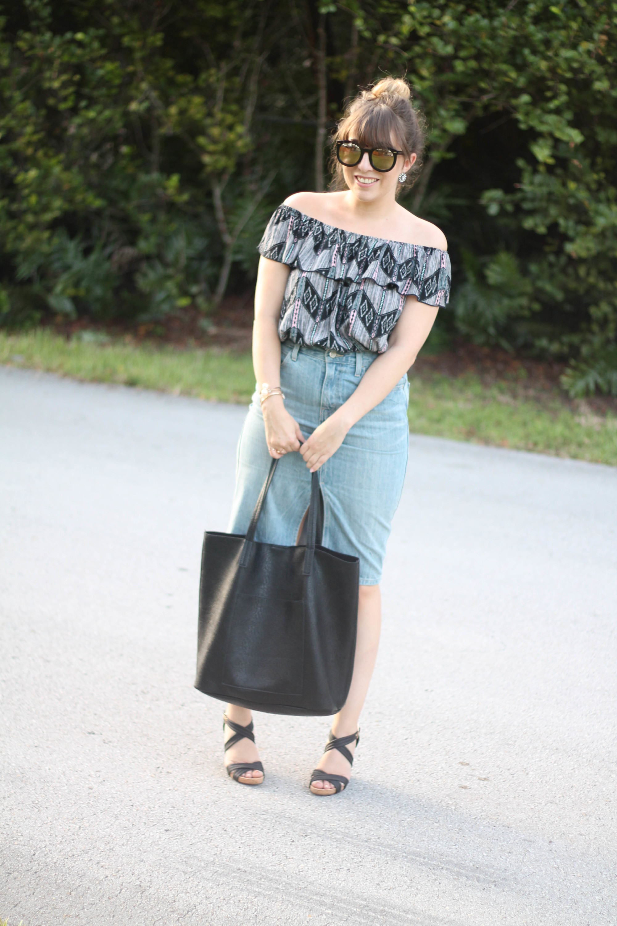Levi's denim pencil skirt, Kohl's off the shoulder top, karen walker sunglasses from ditto, sole society wedges (5 of 11)