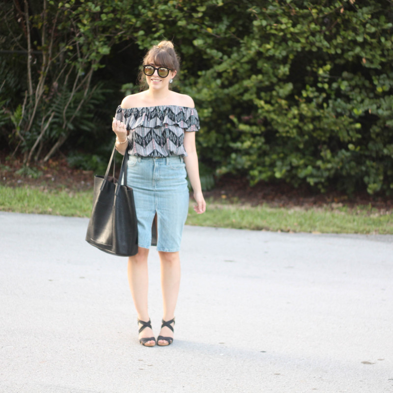Levi's denim pencil skirt, Kohl's off the shoulder top, karen walker sunglasses from ditto, sole society wedges (6 of 11)