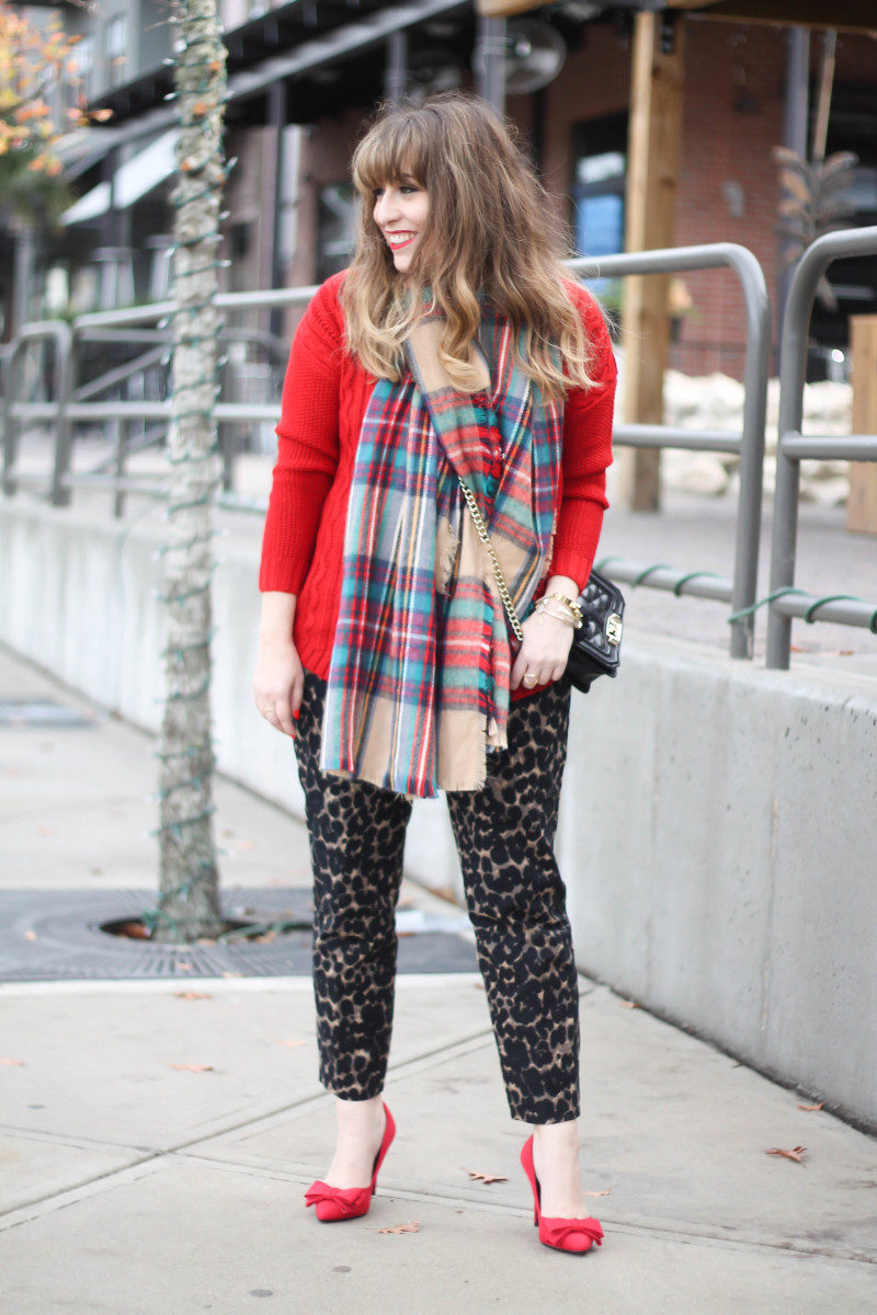 Old Navy Harper pant and plaid blanket scarf-2