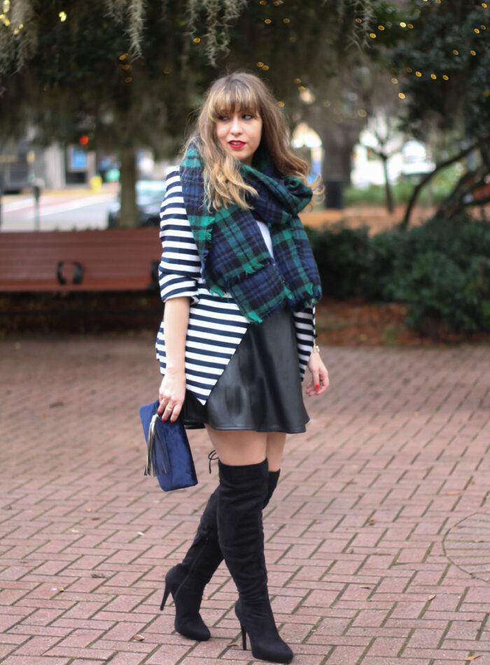 Stripe blazer and watch plaid scarf-11