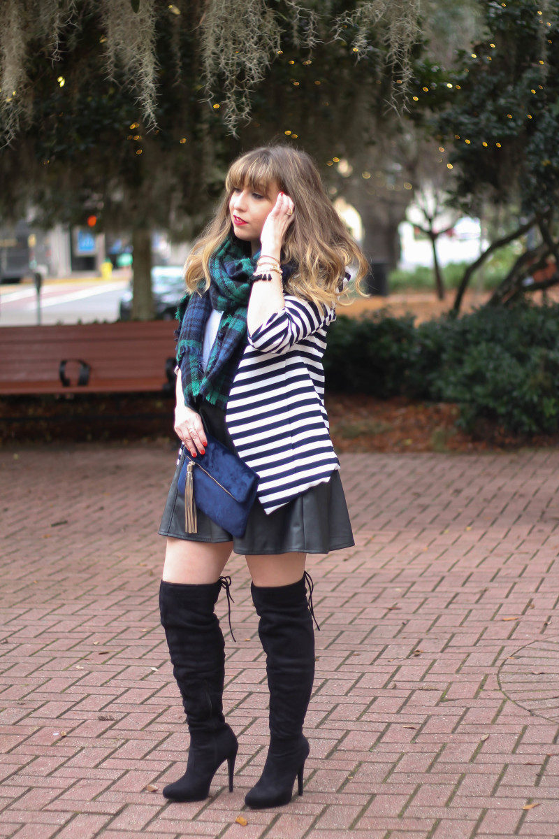 Stripe blazer and watch plaid scarf-2