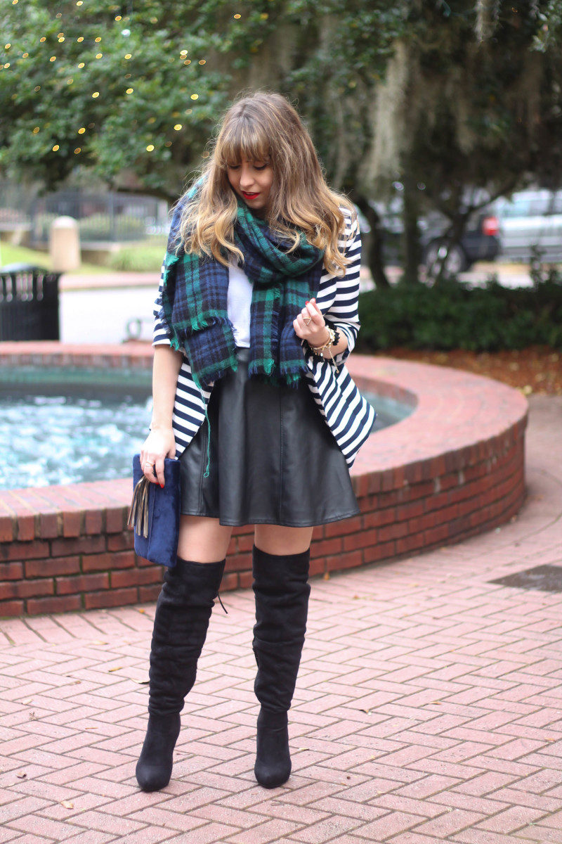 Stripe blazer and watch plaid scarf-4