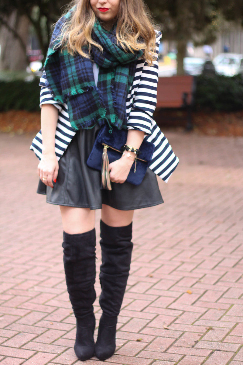 Stripe blazer and watch plaid scarf-5