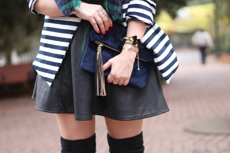Stripe blazer and watch plaid scarf-6