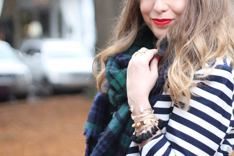 Stripe blazer and watch plaid scarf-8