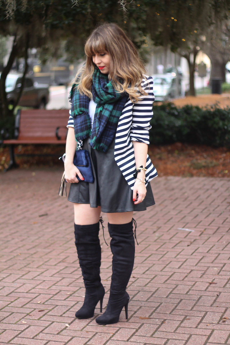 Stripe blazer and watch plaid scarf