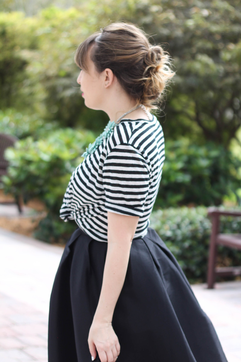 Midi skirt and striped tee outfit-12