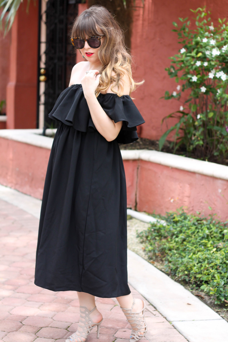 Choies black off the shoulder midi dress-3