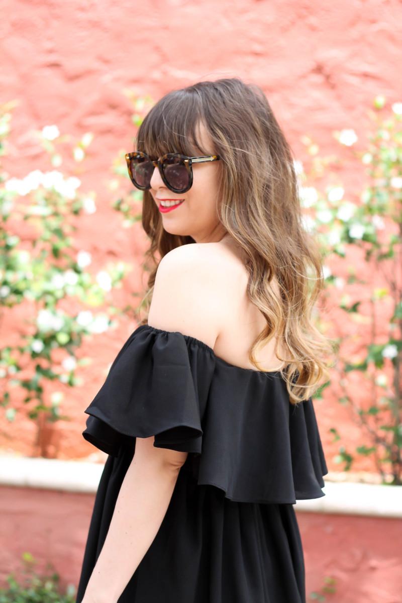 Choies black off the shoulder midi dress-6