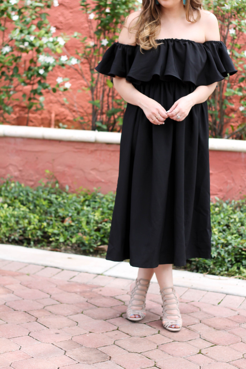Choies black off the shoulder midi dress-7