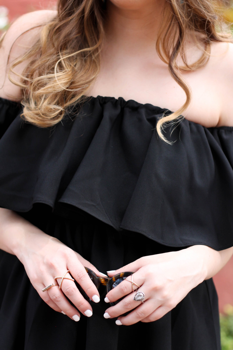 Choies black off the shoulder midi dress-8