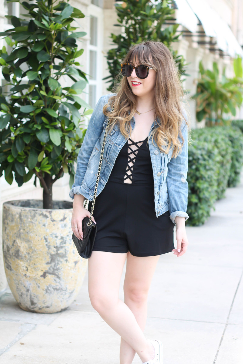 Topshop lace up romper-7