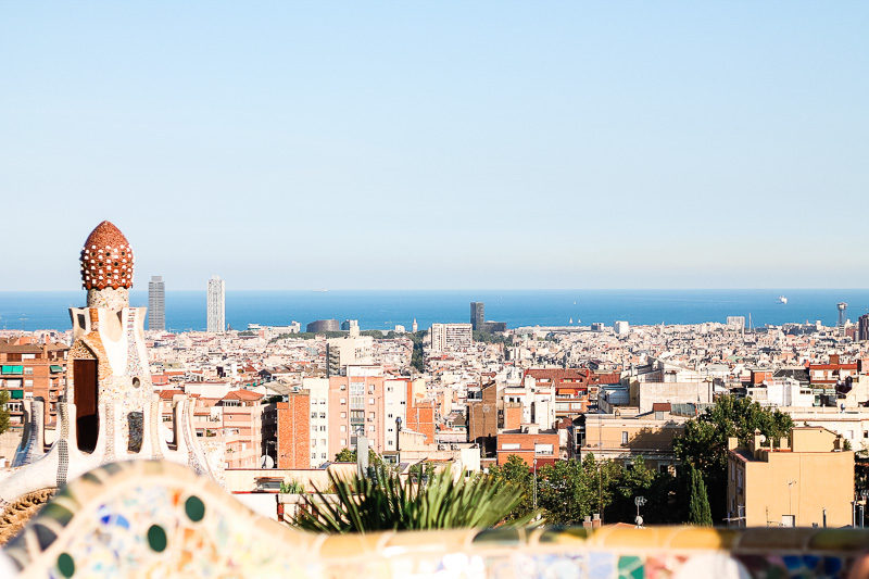 View of Barcelona from the top of Park Guell.