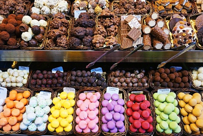 Macarons and goodies at the St Josep la Boqueria mercado in Barcelona.