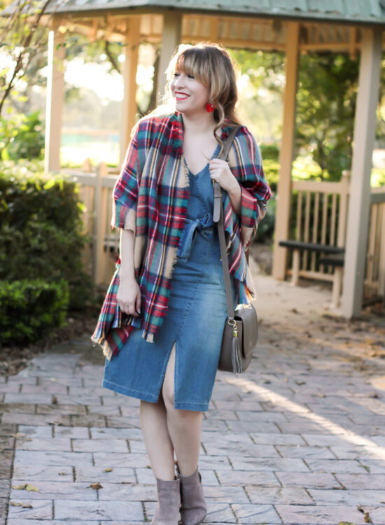 Cute jean dress and blanket scarf