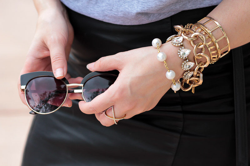 Miami fashion blogger Stephanie Pernas styling Baublebar bracelets, Olive + Piper with the taudrey Jackie Kennedy bracelet for a chic bracelet stack