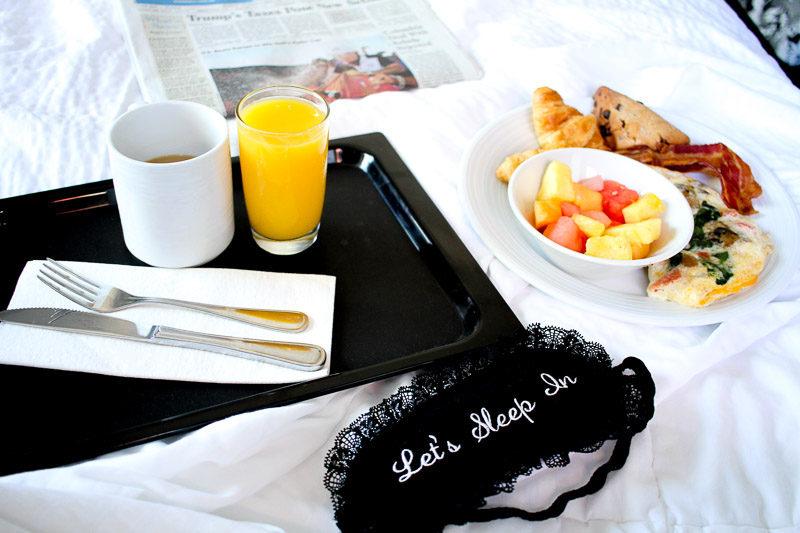 PJ Salvage Let's Sleep In eyemask and breakfast in bed