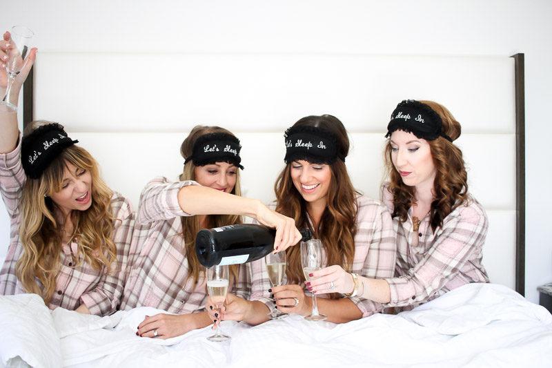 Fashion bloggers wearing PJ Salvage pink sleepshirts
