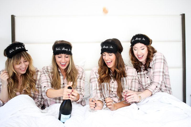 Fashion bloggers wearing matching PJ Salvage pajamas