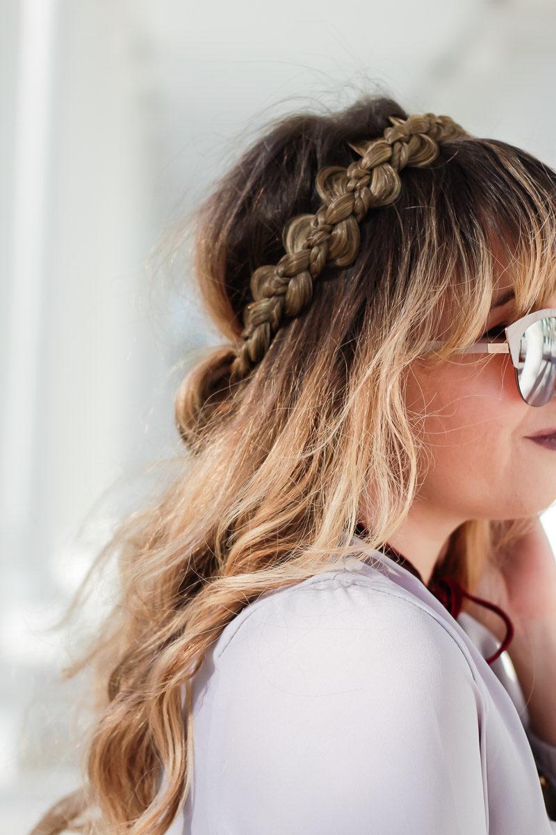 Miami fashion blogger Stephanie Pernas wearing the Just Braydz by Chaya Wreath braid headband