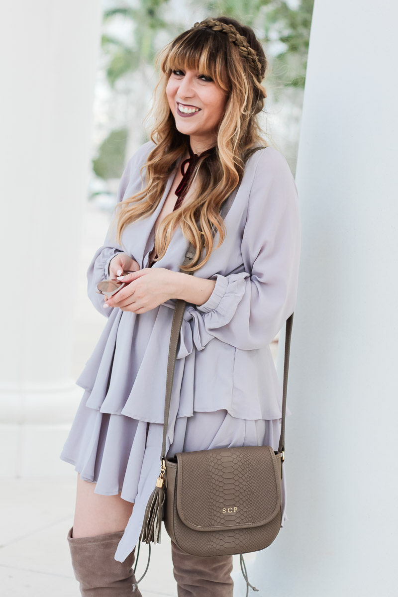 Miami fashion blogger Stephanie Pernas of a A Sparkle Factor wears a pretty gray dress perfect for a fall date night look