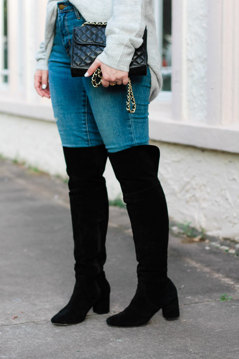 Miami fashion blogger Stephanie Pernas of A Sparkle Factor styles Sole Society Leandra over the knee boots with jeans