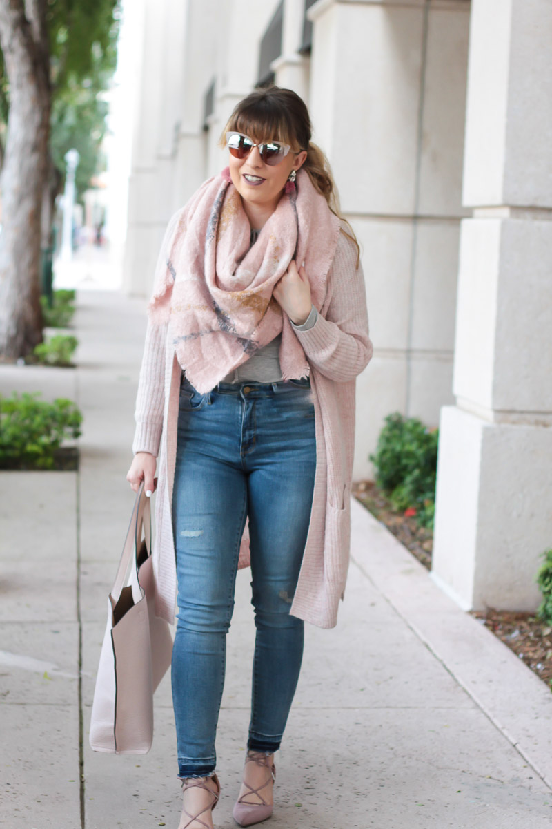 Blush blanket scarf and cardigan outfit