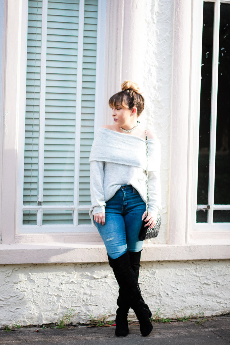 Miami fashion blogger Stephanie Pernas wearing Sole Society Leandra over the knee boots with jeans
