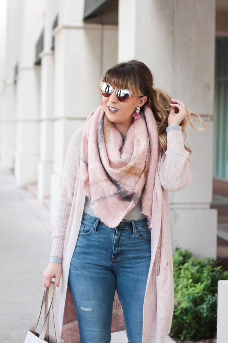 blush blanket scarf and blush boyfriend cardigan fall outfit idea