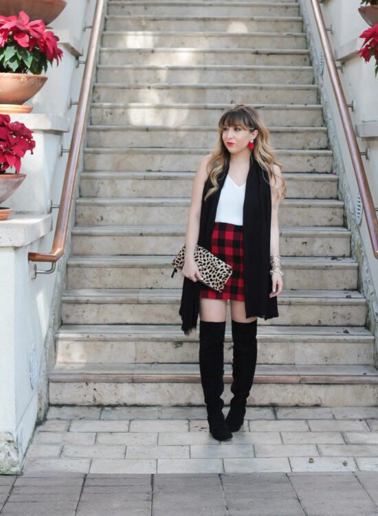 Plaid skirt holiday outfit-3