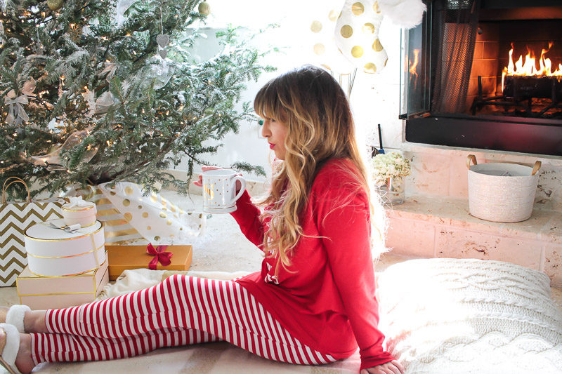 Miami fashion blogger Stephanie Pernas wearing cute Christmas pajamas
