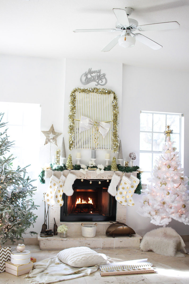Pretty gold, silver and white Christmas decor for the living room