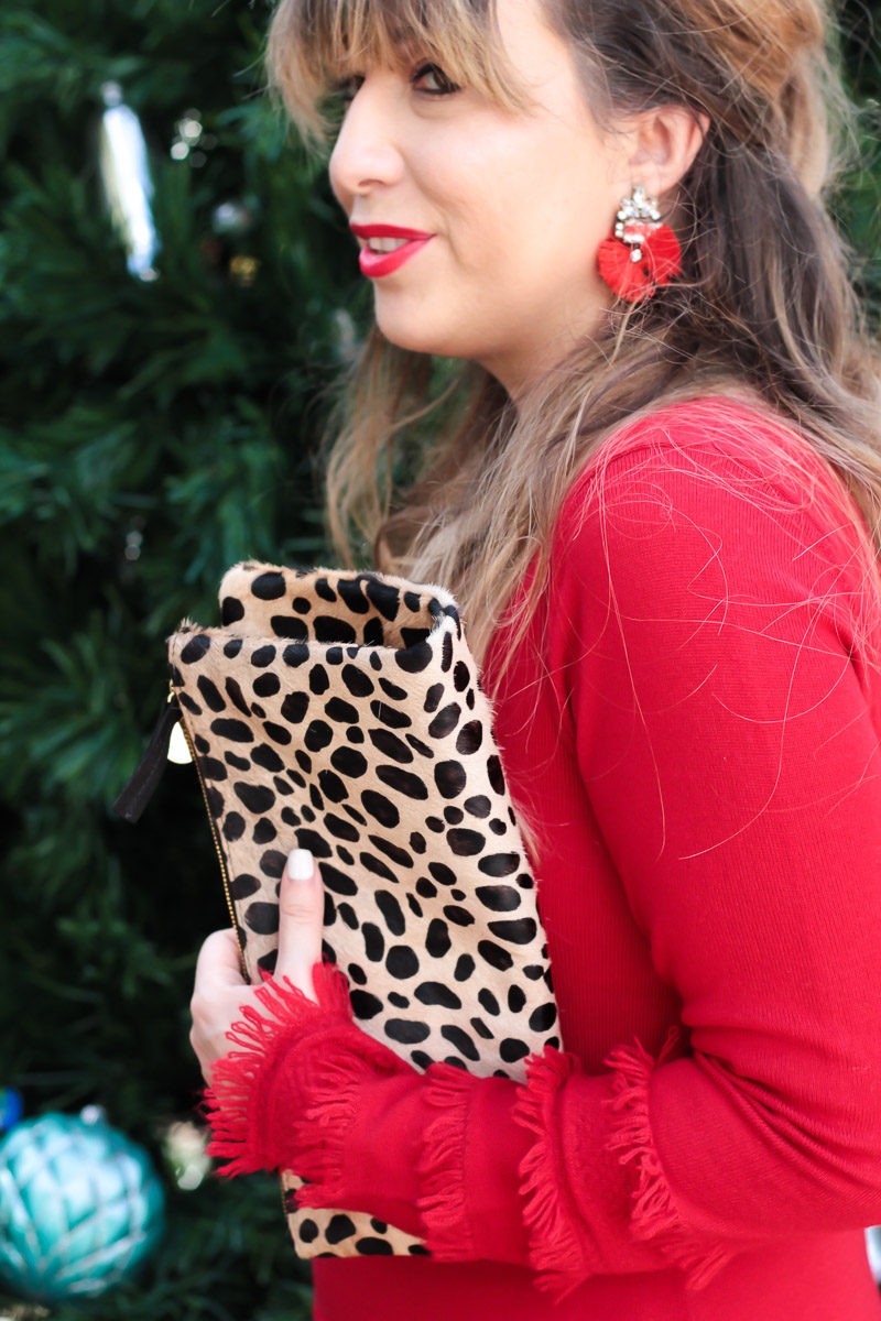 Miami fashion blogger styles a Clare V leopard foldover clutch with red Baublebar Flamenco Drops