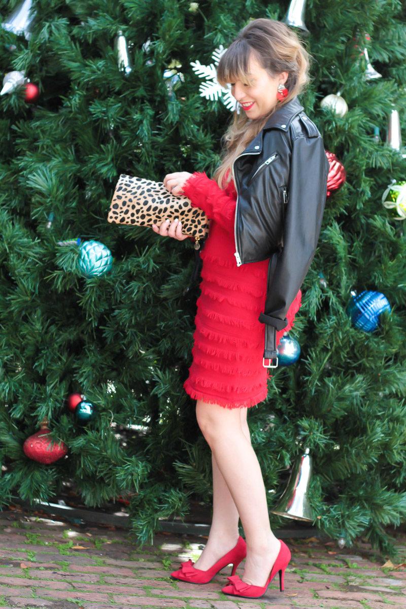 Miami fashion blogger Stephanie Pernas styles a Trina Turk sweater dress for the holidays
