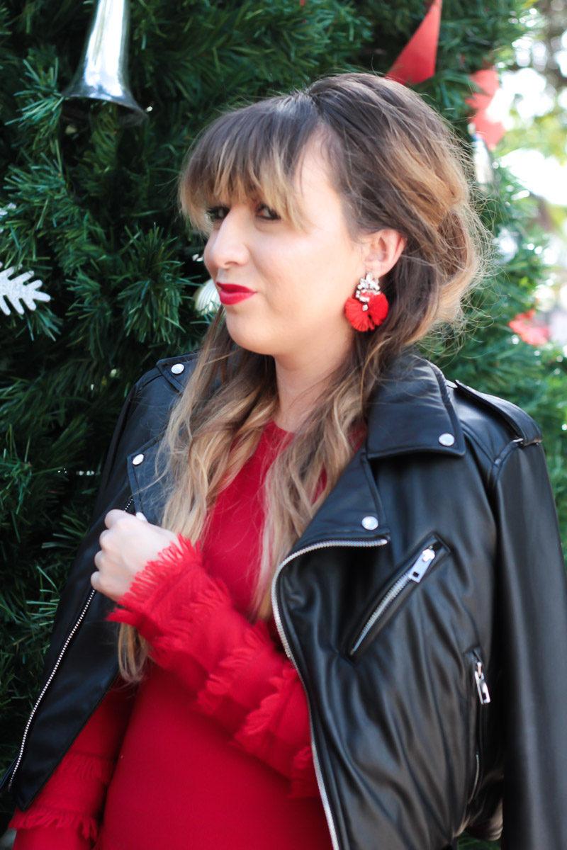 Miami fashion blogger Stephanie Pernas wearing Baublebar Flamenco Drops earrings in red