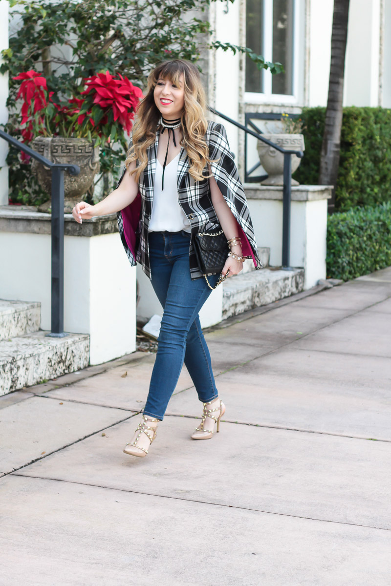 Trina turk plaid cape blazer and jeans-10