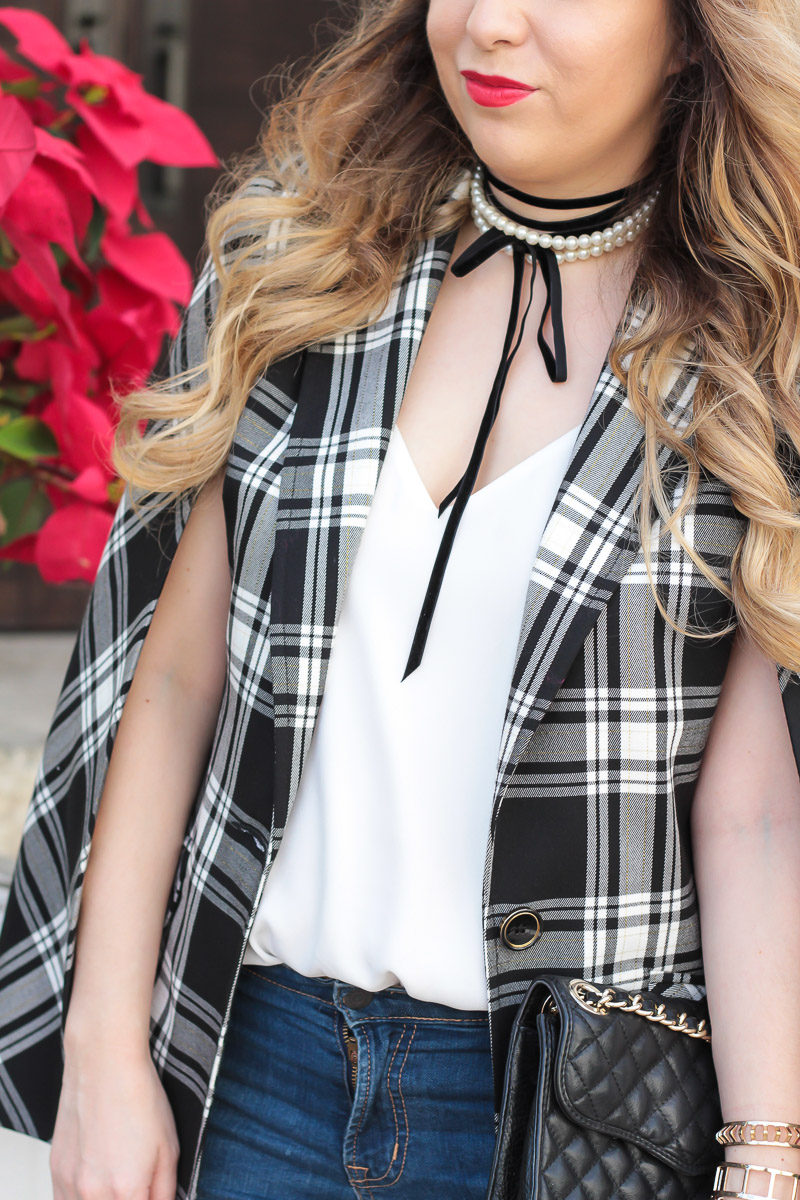 Miami fashion blogger Stephanie Pernas wearing a plaid cape blazer and Baublebar Guinevere choker