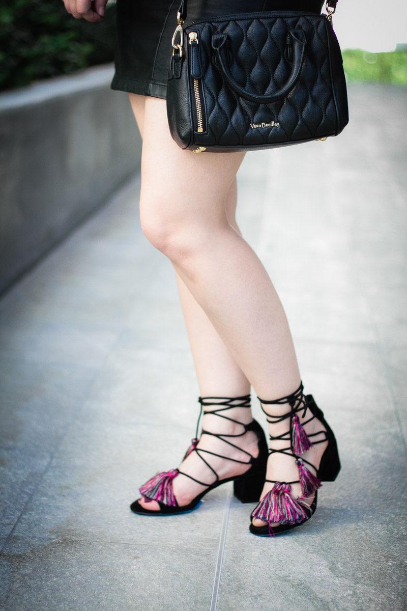 Miami fashion blogger wearing the Rebecca Minkoff Isla sandals, cute tassel sandals for spring