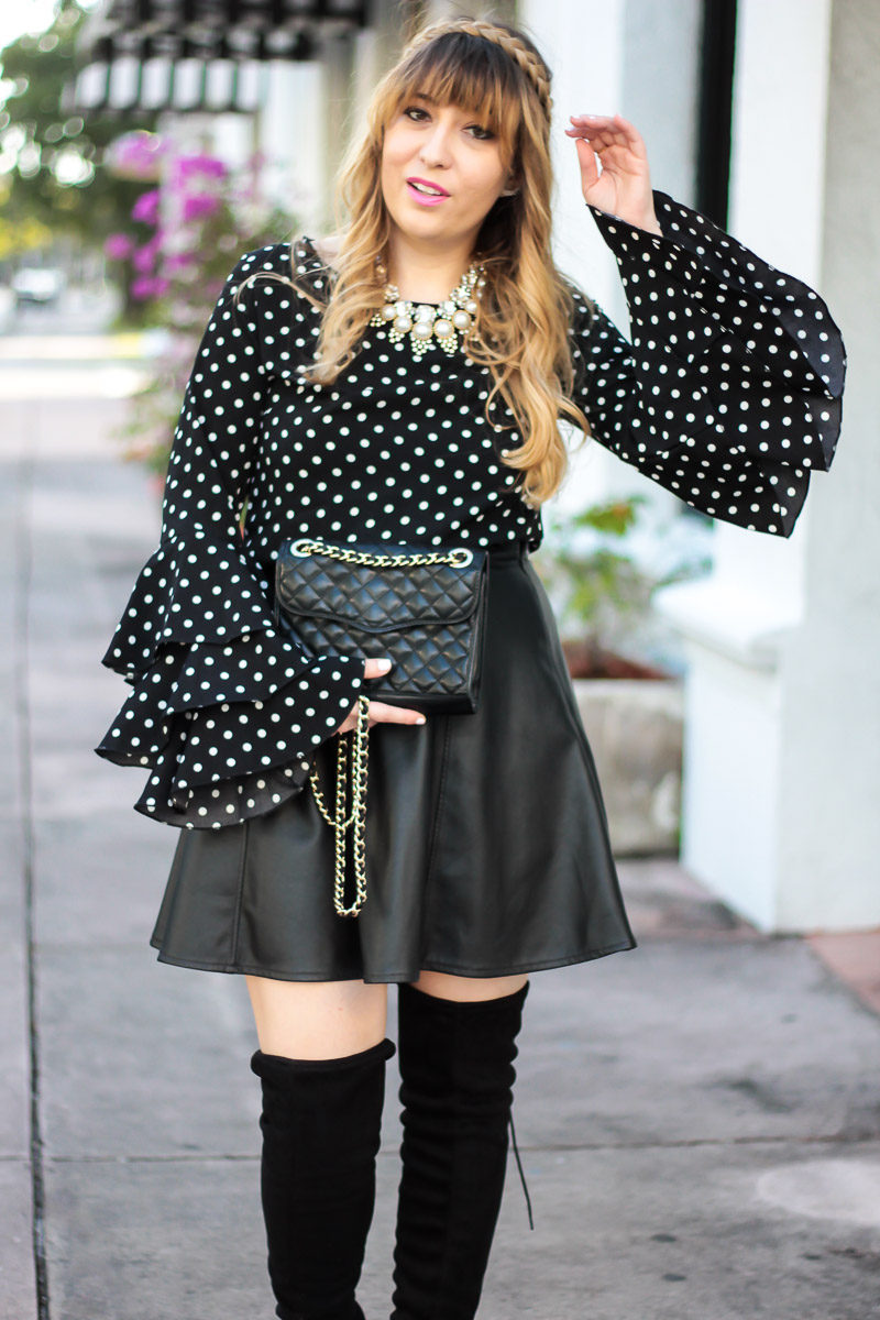 Miami fashion blogger Stephanie Pernas wearing a statement sleeve blouse and layered necklaces