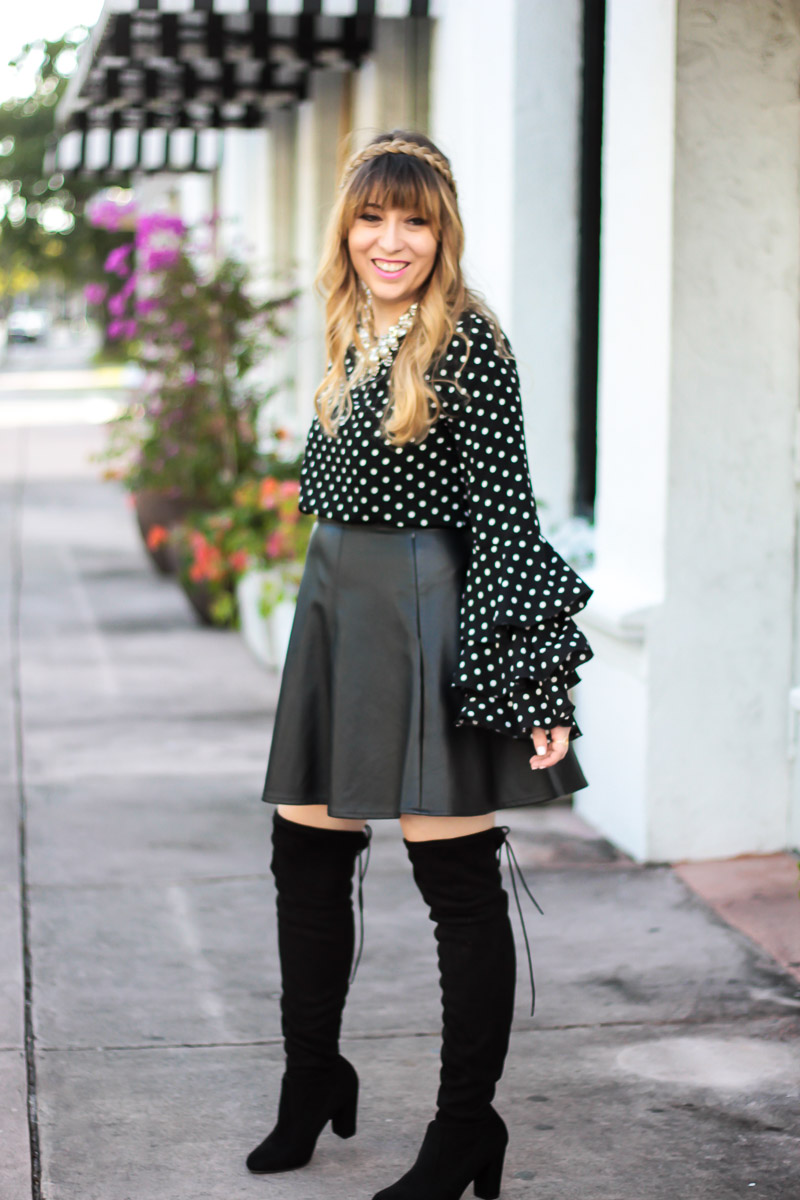 Cute leather skirt outfit