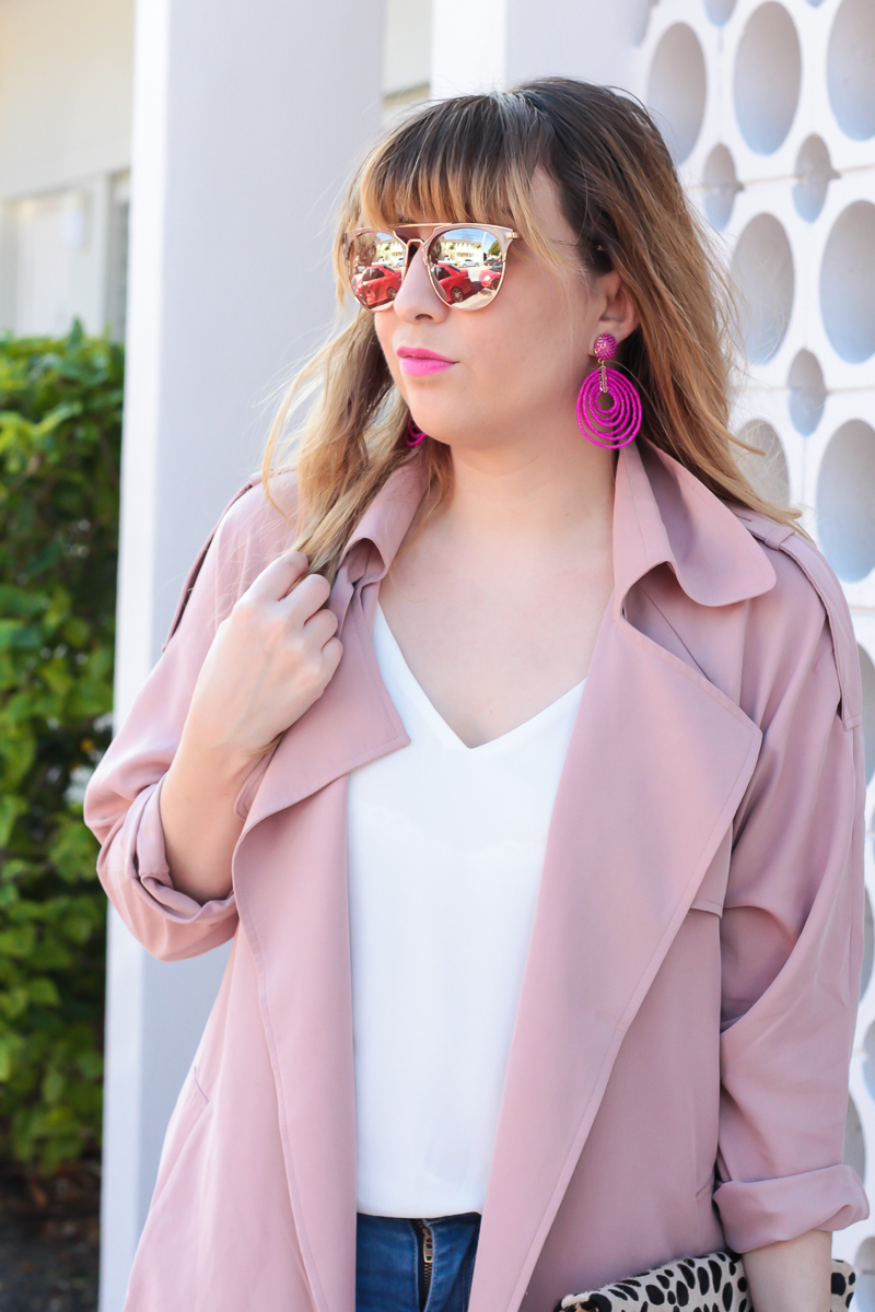 Pink Trench + Jeans + Pink Pumps-11