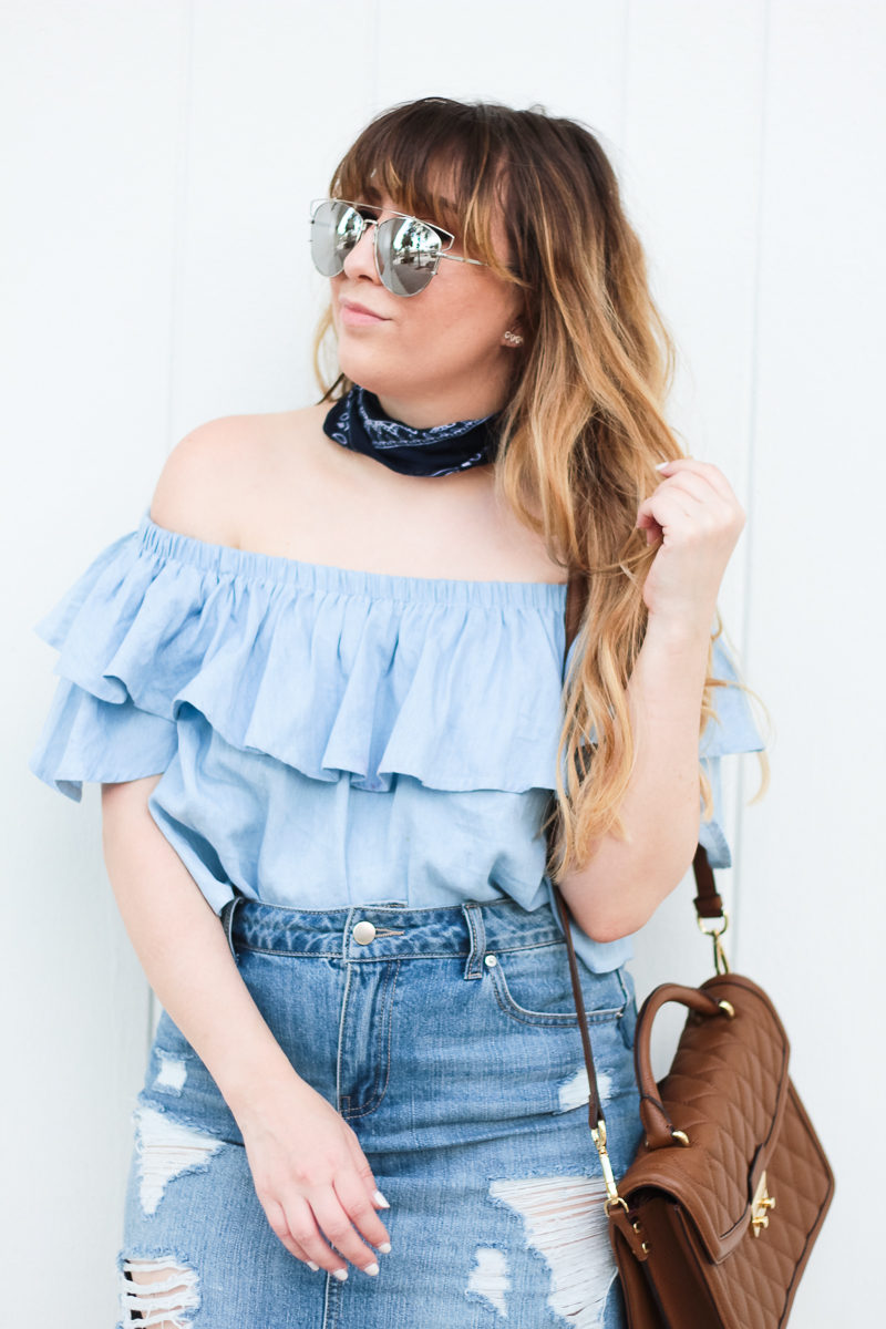 Miami fashion blogger Stephanie Pernas styles a bandana neckscarf with an off the shoulder top