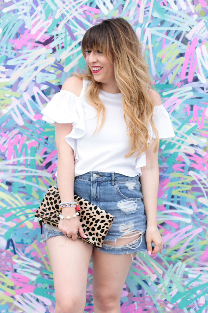 Flutter Sleeve Top + Jean Shorts outfit-2