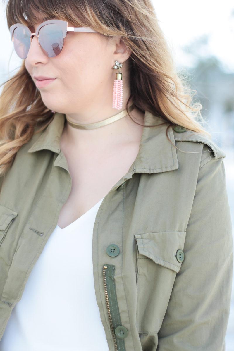 Miami fashion blogger Stephanie Pernas wearing Sugarfix pink tassel earrings