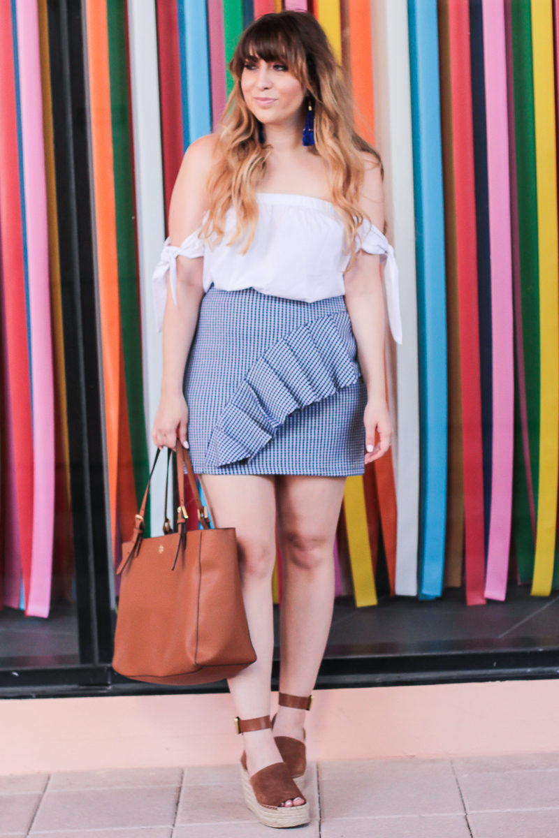 Miami fashion blogger Stephanie Pernas wearing Topshop gingham ruffle skirt with off the shoulder top