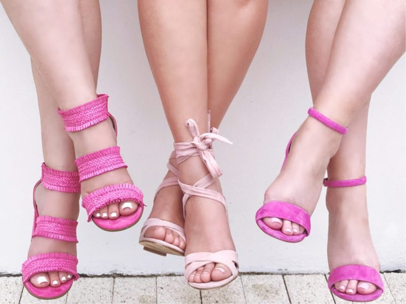 Miami fashion blogger Stephanie Pernas and her friends share a photo of their all pink shoes