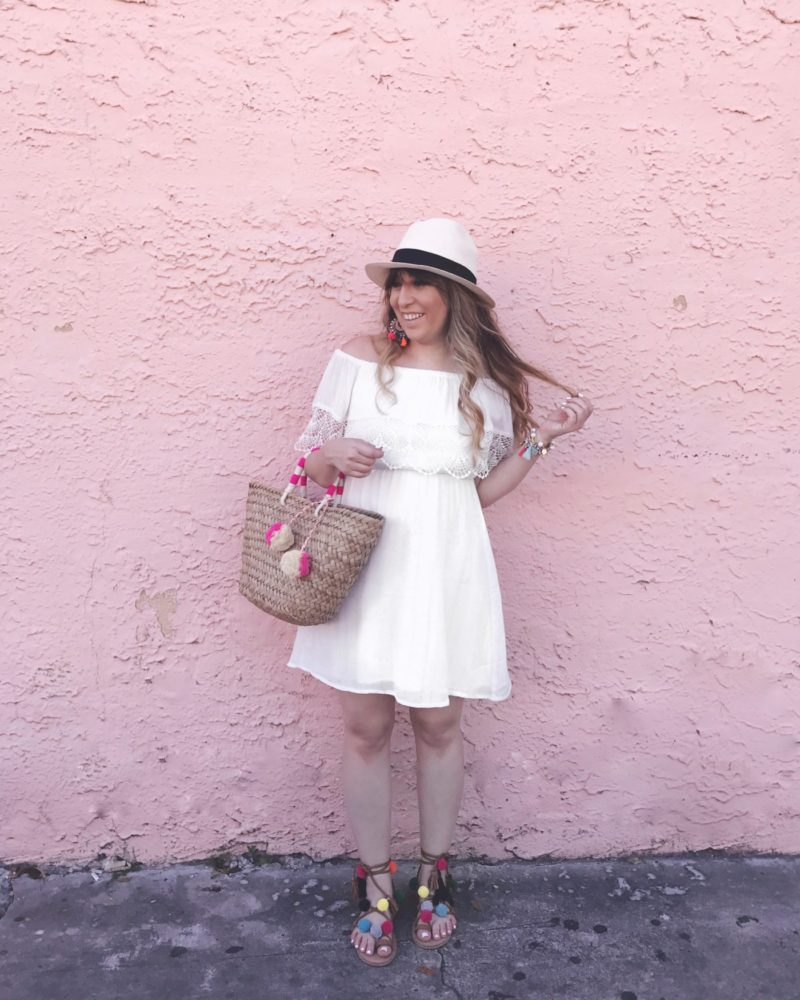 Miami fashion blogger Stephanie Pernas wearing a white off the shoulder dress