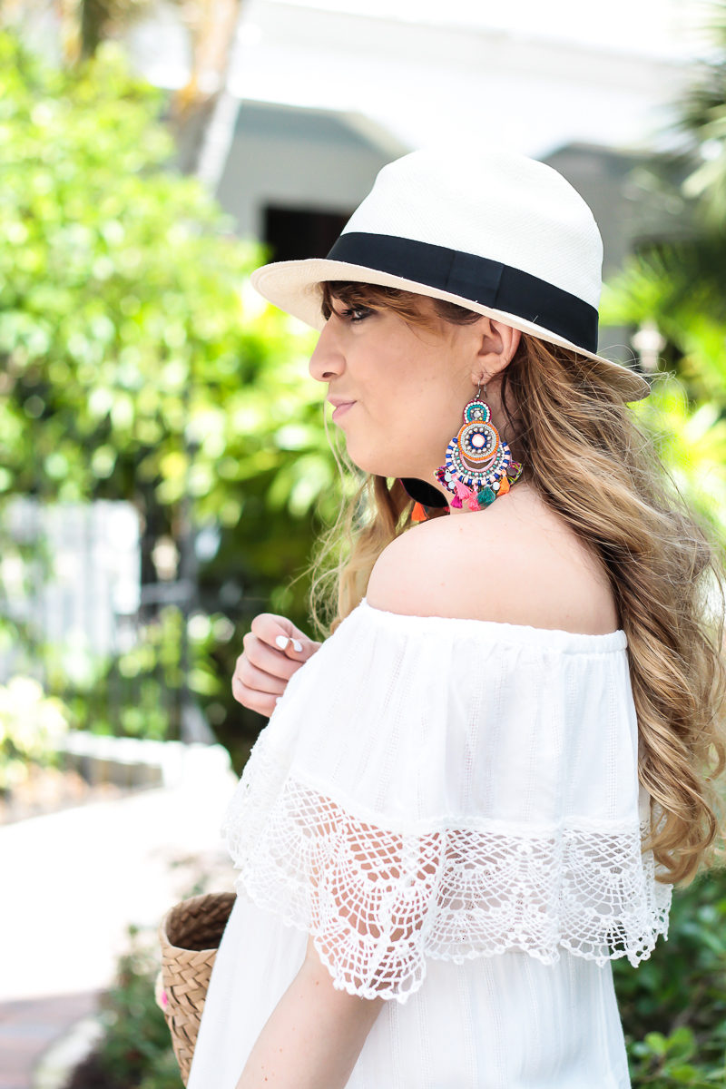 Miami fashion blogger Stephanie Pernas wearing a J.Crew panama hat and Forever 21 earrings